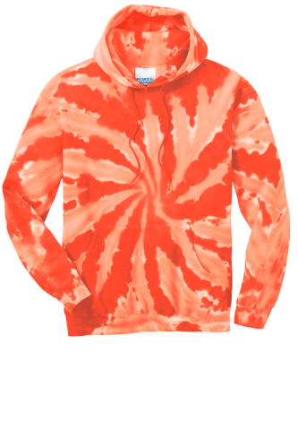 Orange Port & Company Essential Tie-Dye Pullover Hooded Sweatshirt as seen from the front
