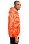 Orange Port & Company Essential Tie-Dye Pullover Hooded Sweatshirt as seen from the sleeveleft