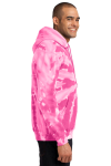 Pink Port & Company Essential Tie-Dye Pullover Hooded Sweatshirt as seen from the sleeveleft