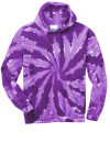 Purple Port & Company Essential Tie-Dye Pullover Hooded Sweatshirt as seen from the front