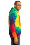 Rainbow Port & Company Essential Tie-Dye Pullover Hooded Sweatshirt as seen from the sleeveleft