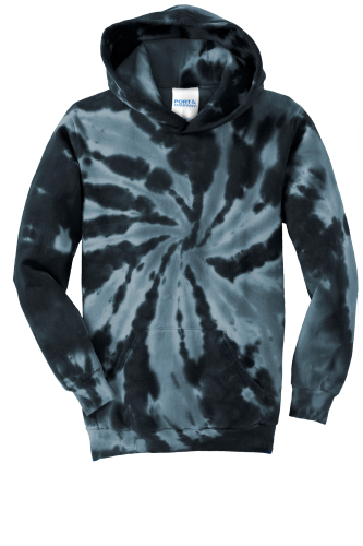Black Port & Company Youth Essential Tie-Dye Pullover Hooded Sweatshirt as seen from the front