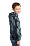 Black Port & Company Youth Essential Tie-Dye Pullover Hooded Sweatshirt as seen from the sleeveleft