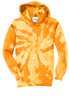 Gold Port & Company Youth Essential Tie-Dye Pullover Hooded Sweatshirt as seen from the front