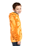 Gold Port & Company Youth Essential Tie-Dye Pullover Hooded Sweatshirt as seen from the sleeveleft