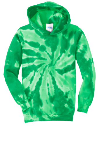 Kelly Port & Company Youth Essential Tie-Dye Pullover Hooded Sweatshirt as seen from the front