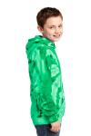 Kelly Port & Company Youth Essential Tie-Dye Pullover Hooded Sweatshirt as seen from the sleeveleft