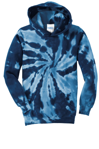 Navy Port & Company Youth Essential Tie-Dye Pullover Hooded Sweatshirt as seen from the front
