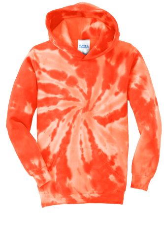 Orange Port & Company Youth Essential Tie-Dye Pullover Hooded Sweatshirt as seen from the front