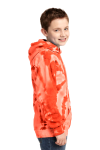 Orange Port & Company Youth Essential Tie-Dye Pullover Hooded Sweatshirt as seen from the sleeveleft
