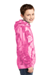 Pink Port & Company Youth Essential Tie-Dye Pullover Hooded Sweatshirt as seen from the sleeveleft