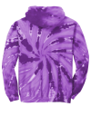 Purple Port & Company Youth Essential Tie-Dye Pullover Hooded Sweatshirt as seen from the back
