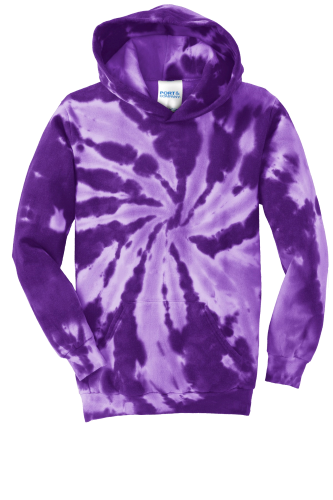 Purple Port & Company Youth Essential Tie-Dye Pullover Hooded Sweatshirt as seen from the front