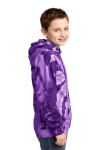 Purple Port & Company Youth Essential Tie-Dye Pullover Hooded Sweatshirt as seen from the sleeveleft