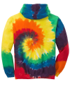 Rainbow Port & Company Youth Essential Tie-Dye Pullover Hooded Sweatshirt as seen from the back