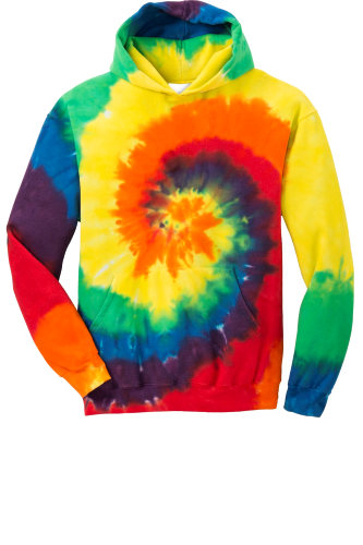 Rainbow Port & Company Youth Essential Tie-Dye Pullover Hooded Sweatshirt as seen from the front