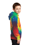 Rainbow Port & Company Youth Essential Tie-Dye Pullover Hooded Sweatshirt as seen from the sleeveleft