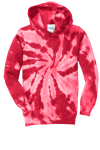 Red Port & Company Youth Essential Tie-Dye Pullover Hooded Sweatshirt as seen from the front