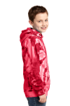 Red Port & Company Youth Essential Tie-Dye Pullover Hooded Sweatshirt as seen from the sleeveleft