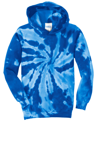 Royal Port & Company Youth Essential Tie-Dye Pullover Hooded Sweatshirt as seen from the front