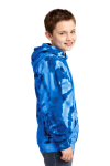 Royal Port & Company Youth Essential Tie-Dye Pullover Hooded Sweatshirt as seen from the sleeveleft