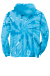 Turquoise Port & Company Youth Essential Tie-Dye Pullover Hooded Sweatshirt as seen from the back