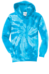 Turquoise Port & Company Youth Essential Tie-Dye Pullover Hooded Sweatshirt as seen from the front