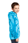 Turquoise Port & Company Youth Essential Tie-Dye Pullover Hooded Sweatshirt as seen from the sleeveleft