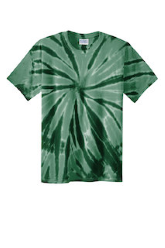 Forest Green Port & Company Essential Tie-Dye Tee as seen from the front