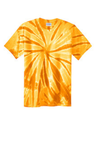 Gold Port & Company Essential Tie-Dye Tee as seen from the front