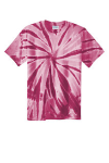 Maroon Port & Company Essential Tie-Dye Tee as seen from the front