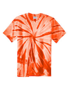 Orange Port & Company Essential Tie-Dye Tee as seen from the front