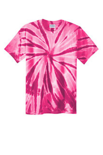 Pink Port & Company Essential Tie-Dye Tee as seen from the front