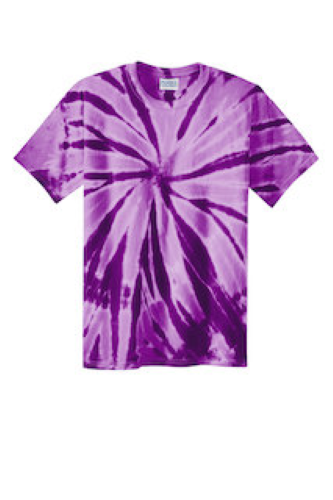 Purple Port & Company Essential Tie-Dye Tee as seen from the front
