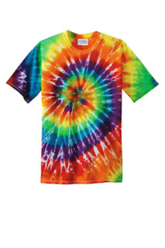 Rainbow Port & Company Essential Tie-Dye Tee as seen from the front