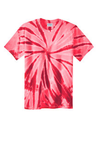Red Port & Company Essential Tie-Dye Tee as seen from the front