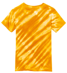 Gold Port & Company Youth Essential Tiger Stripe Tie-Dye Tee as seen from the back