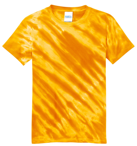 Gold Port & Company Youth Essential Tiger Stripe Tie-Dye Tee as seen from the front