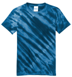 Navy Port & Company Youth Essential Tiger Stripe Tie-Dye Tee as seen from the front