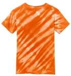 Orange Port & Company Youth Essential Tiger Stripe Tie-Dye Tee as seen from the back