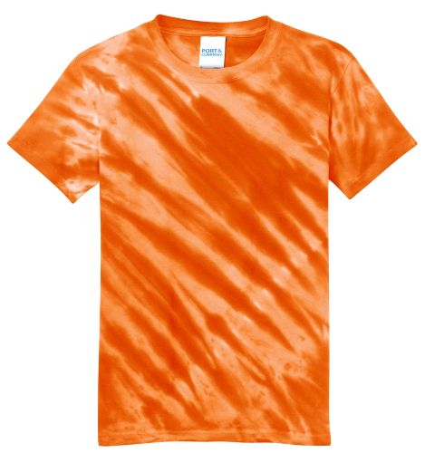 Orange Port & Company Youth Essential Tiger Stripe Tie-Dye Tee as seen from the front