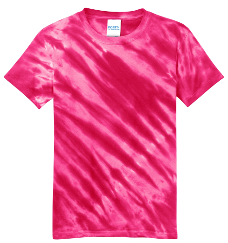 Pink Port & Company Youth Essential Tiger Stripe Tie-Dye Tee as seen from the front