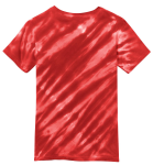 Red Port & Company Youth Essential Tiger Stripe Tie-Dye Tee as seen from the back