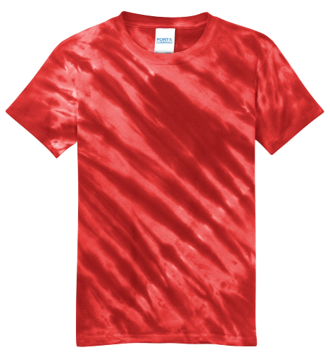 Red Port & Company Youth Essential Tiger Stripe Tie-Dye Tee as seen from the front