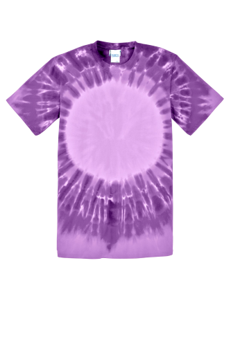 Purple Port & Company -Essential Window Tie-Dye Tee as seen from the front