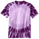 Purple Port & Company Youth Essential Window Tie-Dye Tee as seen from the front