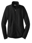Black Red House Ladies Sweater Fleece Full-Zip Jacket as seen from the front