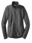 Grey Heather Red House Ladies Sweater Fleece Full-Zip Jacket as seen from the front