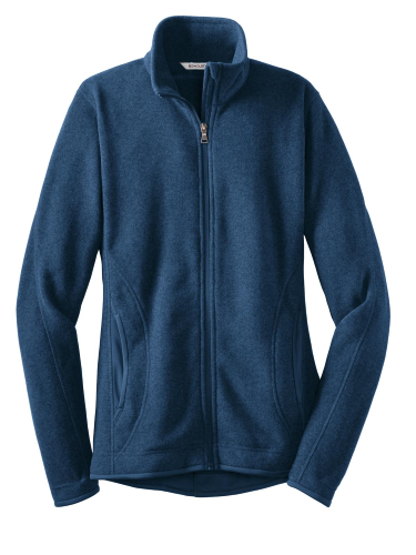 Navy Heather Red House Ladies Sweater Fleece Full-Zip Jacket as seen from the front