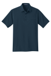 Regatta Blue Port Authority Ultra Stretch Pocket Polo as seen from the front